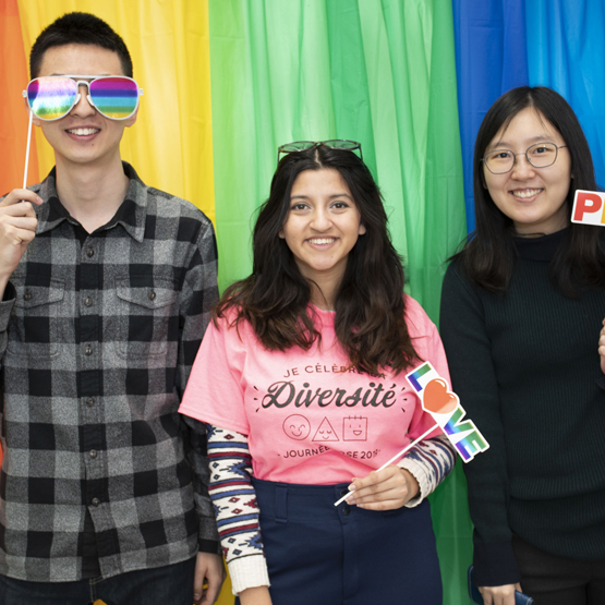 Manulife student pose for a photo during International Day of Pink, a day against bullying, discrimination, homophobia, transphobia, and transmisogyny across the world.