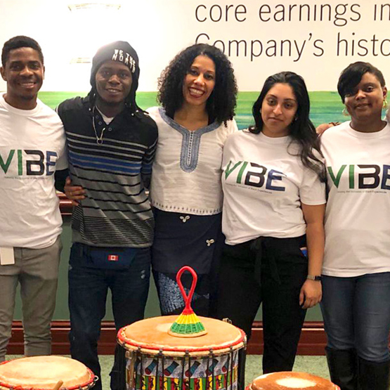 VIBE committee members host an African music and dance event.